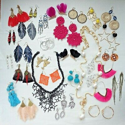 Huge Jewelry Lot of Colorful Fashion Earrings + Necklaces