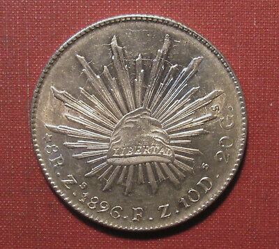 1896 Zs MEXICO 8 REALES - AU+ COIN WITH NATURAL LUSTER AND RADIAL DIE CRACKS!