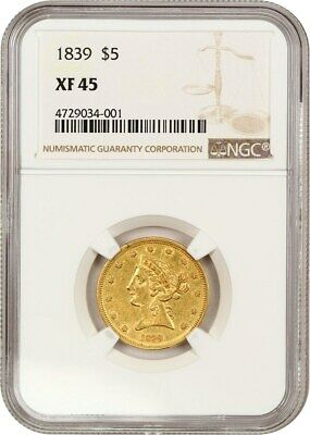 1839 $5 NGC XF45 - Liberty Half Eagle - Gold Coin