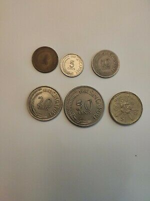 Singapore 1968 Coin ( 1, 5, 10, 20, 50 Cent And 1988 1 Dollar Coins