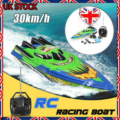 Remote Control Twin Motor High Speed Boat RC Racing Outdoor Toys With Radio UK