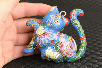 chinese lovely cloisonne blue lovely cat statue netsuke collectable pendant