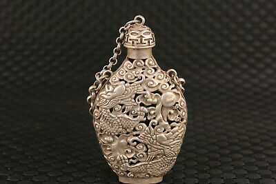 Chinese old Tibet silver hand carved hollow dragon statue snuff bottle pendant