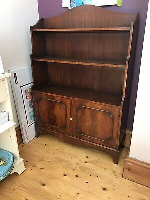 Georgian Style Mahogany Waterfall Bookcase with Cupboard Bevan Funnell Reprodux