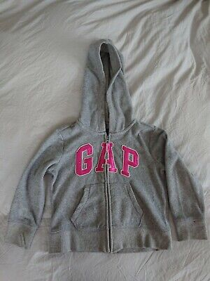 Gap Girls Grey Zipped Hoodie With Pink Sequins Age 4-5 Yrs