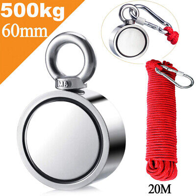 500kg Double Sided Round Recovery Salvage Neodymium Fishing Magnet + 20M Rope UK