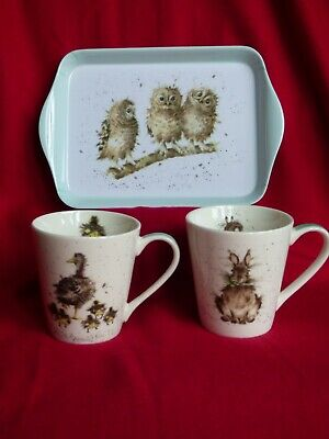 Wrendale  2 Mugs and a tray set ,  by Royal Worcester