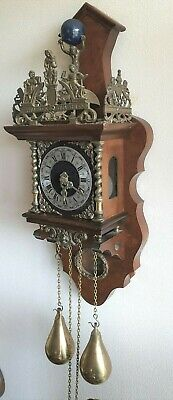 Large Zaanse Wall Clock 1971 Dutch 8 Day Chain Driven Pendulum Bell Strike