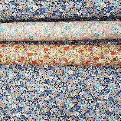 Cotton Floral Flower Gingham Poplin Material Fabric Summer Dress Making Metre