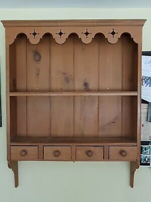 Antique Pine wall mounted display/plate dresser