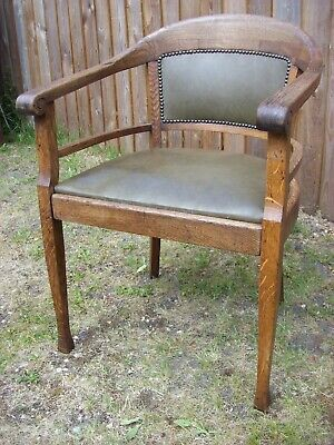 """Vintage oak and leather chair """"captain style"""" restoration project"""