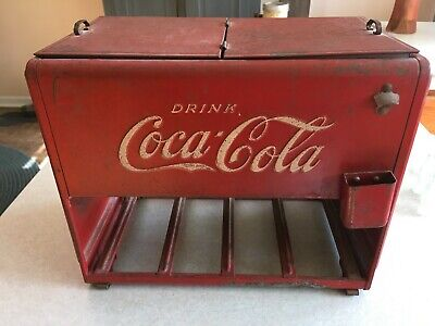 Original 1930's Coca Cola Salesman Sample Cooler with Bottles