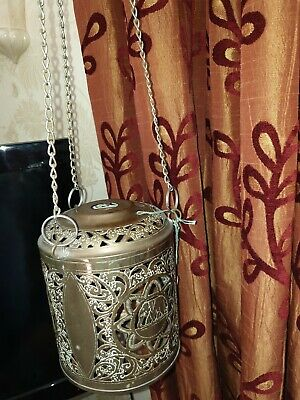 2 Indian Brass Elephant Lampshades long chains 18cm