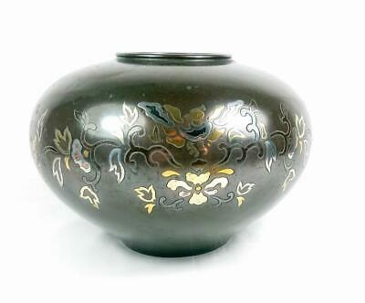 Antique Signed Japanese Inlayed Mixed Metal  Bronze Vase Bowl Meiji Period  A/F