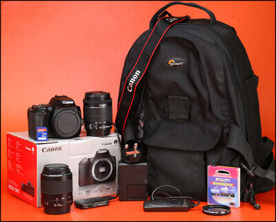 Canon EOS 250D Camera + 18-55mm & 80-200mm Zoom Lens Kit - 4K Movies & DIGIC 8