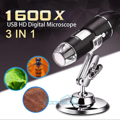 40X-1600X 8 LED Digital Microscope Camera Handheld USB Magnification Endoscope