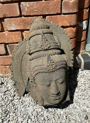 Hand Carved Buddha Head Solid Black Lava Rock Temple Carving Sculpture - Bali