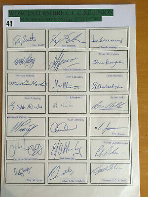 2002 Signed x 21 Worcestershire Former Players Re-Union Team Sheet Tinkler Darks