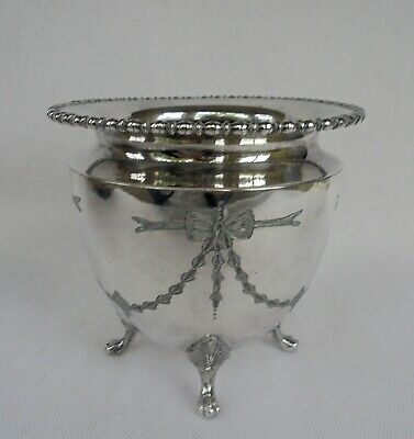 Vintage Silver Plated Cachepot With Engraved Garland Decoration - Four Claw Feet