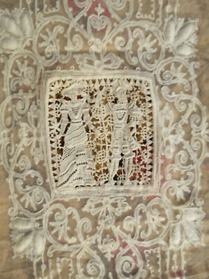 Vtg Embroidered Tambour Net Lace Fabric Remnant 46x37 Italian Needlelace Figural