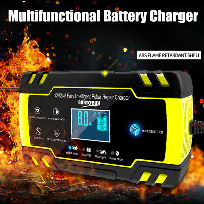 Car Battery Charger LCD Automatic Intelligent Fast/Trickle/Pulse Repair GEL AGM