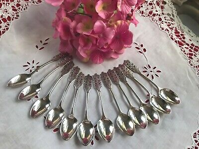 SOLID STERLING SILVER, VERY PRETTY SET OF 12 COFFEE SPOONS, 184gms Free postage