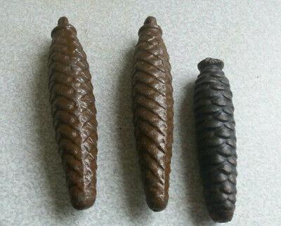 3 X Vintage Pine cone Clock Weights cast metal (Cuckoo Clock type).