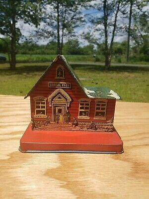 Vintage Tin Litho Red School House Ps 23 Bank Us Metal Toy Mfg Co Teacher