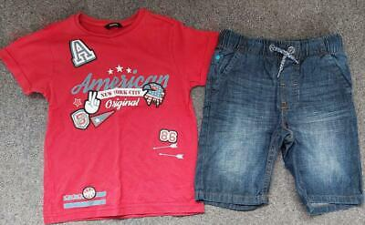 Lovely 2 Piece Boys Outfit,  T Shirt Top And Denim Shorts Set,  6-7 Yrs