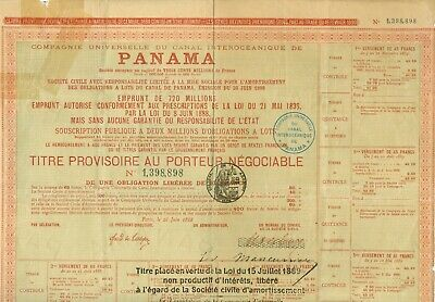 1889 Loan Document For Panama Canal Under French Administration. NICE! Noted can