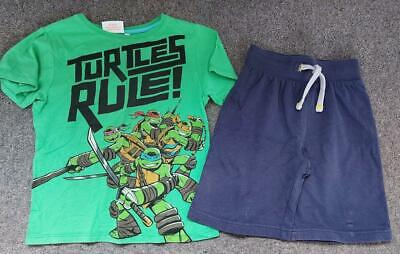 Lovely 2 Piece Boys Outfit,  Tmnt T Shirt Top And Shorts Set,  6-7 Yrs