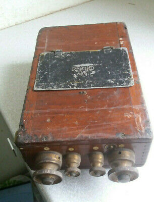 Vintage Wooden Volt Meter- Record - 13 X 7 Inches