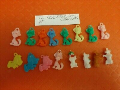 Vintage Gumball/Vending Colorful Dog Charms Lot Of 16