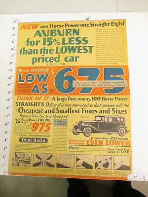 newspaper ad 1932 AUBURN automobile car coupe brougham 100HP straight 8 AW Full