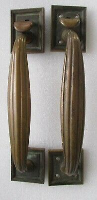 Large Pair Antique Corbin Solid Brass Bronze Thumb Latch Door Handles