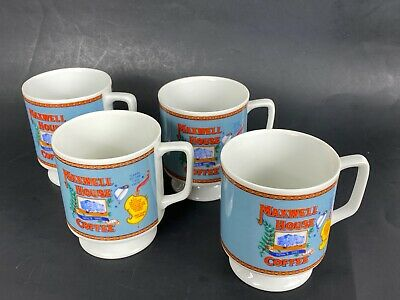 Lot Of 4 MAXWELL HOUSE COFFEE  VINTAGE 1970s  Footed B Cup /Mug