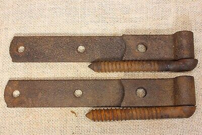 "2 Old shed Barn Door hinges garden gate 8 3/8"" rustic threaded pintels vintage"
