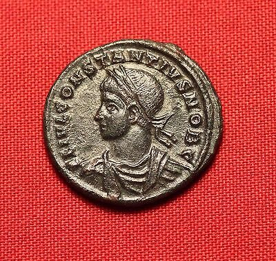 Ancient Roman Silvered Bronze Constantius AE3 Coin, Extra Patina! Camp Gate