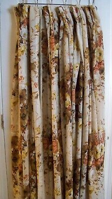 Vintage 1970s Pinch Pleat Curtains w/hooks 4panels Brown/Tan/Gold/Rust
