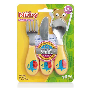 Nuby Stainless Steel Cutlery 3 Piece Set, Assorted Color