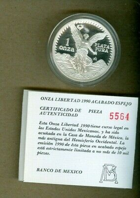 1990 Mexico Proof One Ounce Silver Libertad Coin!