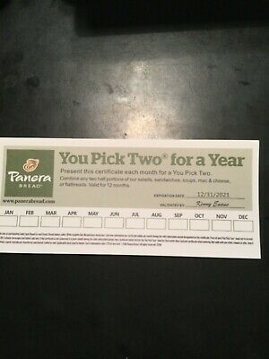 PANERA BREAD GIFT CARD PAPER  YOU PICK TWO FOR A YEAR 12/31/21 Expiration