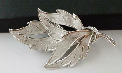 Lovely Vintage Coro Silver Tone Leaf Pin Brooch