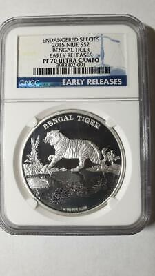 2015 Niue $2 Endangered Species Bengal Tiger 1oz Silver Proof Coin NGC PF70 UCAM