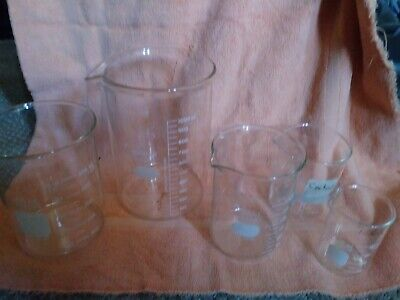 LOT 5  Beaker Set, Glass Pyrex, Kimax 1000ml lab