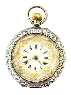 Antique Engraved Sterling Silver Ladies Swiss Pocket Watch English Import Marks