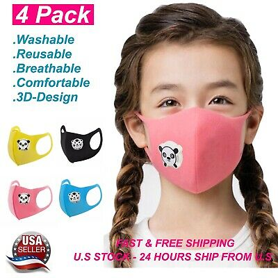 4PACK Washable Reusable Mix Color PM 2.5 Kid Cartoon Sponge Face Mask With Valve