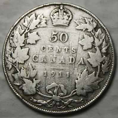 Canada 1911 Silver 50 Cents, One Year Type, Better Old Date KGV