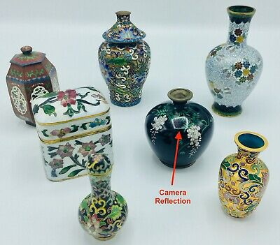 Very Sweet 7 Piece Lot Of Vintage Chinese Cloisonne Small Vases and Containers