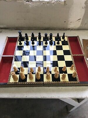 "Vintage Game Board Box Mosaic  Chess Inlaid Marquetry From Estate 23"" x 16""X 2"""